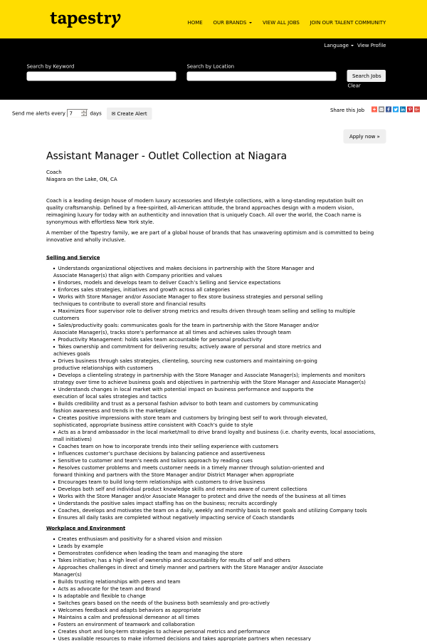 2e964bad46 Assistant Manager - Outlet Collection at Niagara job at Tapestry in ...