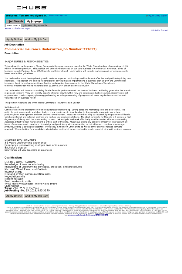 Commercial Insurance Underwriter job at Chubb in White Plains, NY ...