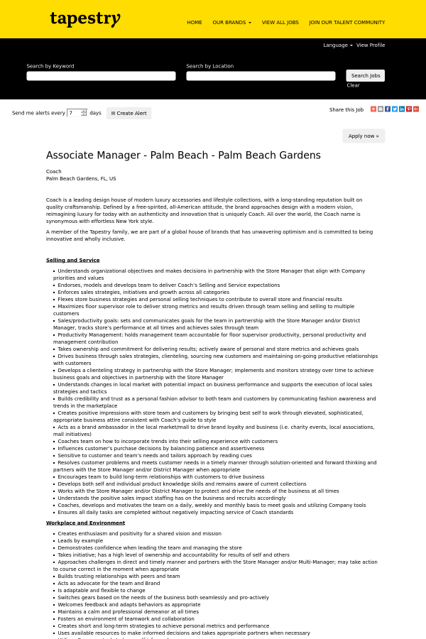 Associate Manager   Palm Beach   Palm Beach Gardens