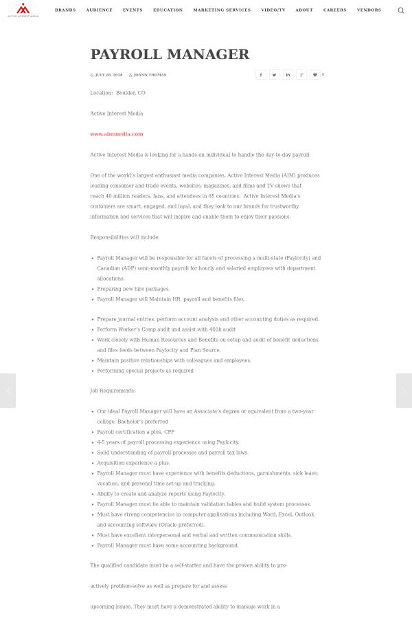 Payroll Manager job at Active Interest Media in Boulder, CO ...