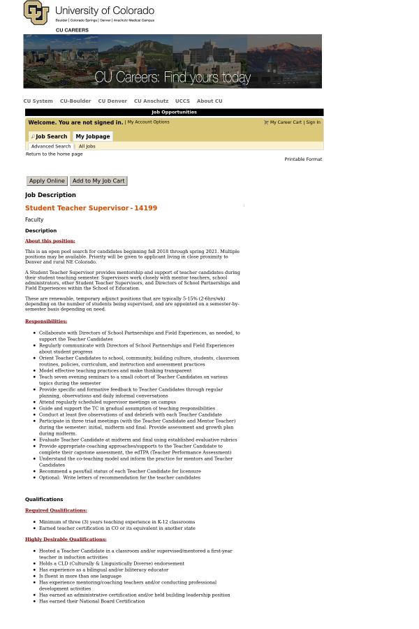 Student Teacher Supervisor Job At University Of Colorado In Boulder