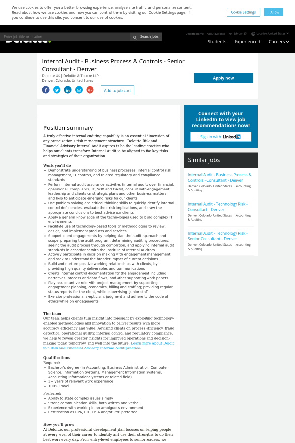 Internal Audit - Business Process & Controls - Senior