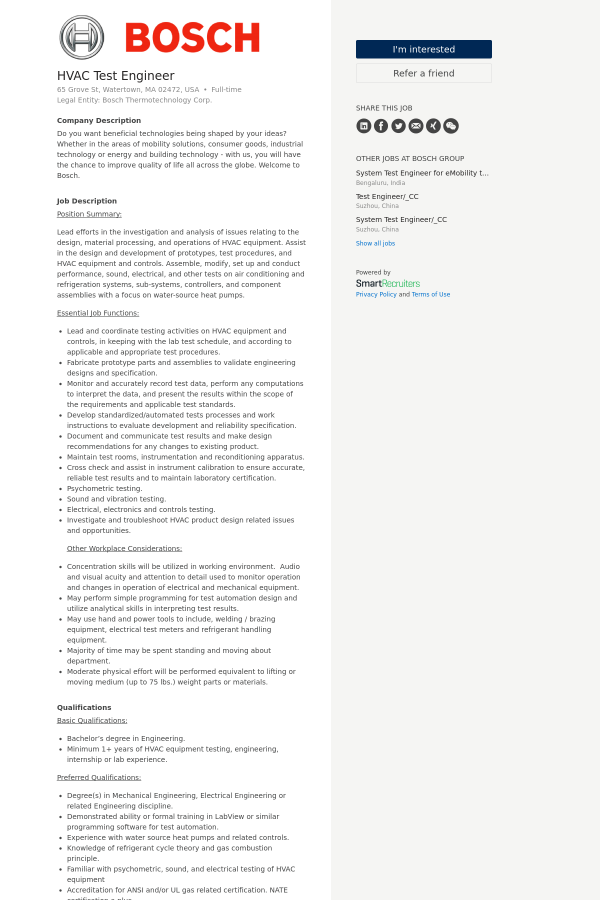HVAC Test Engineer job at Bosch Group in Watertown, MA - 13505149 ...