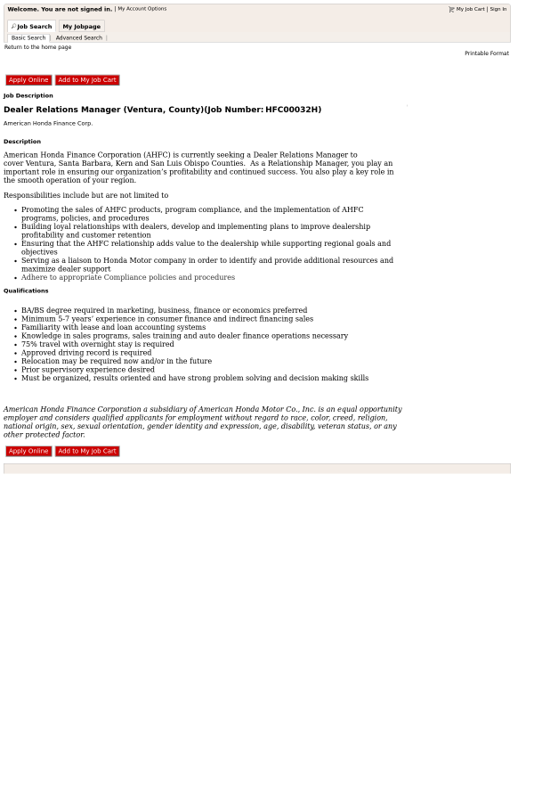Dealer Relations Manager Ventura County Job At Honda In Cypress