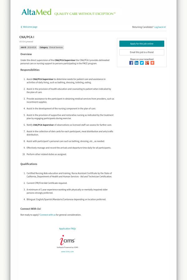 Cna Pca I Job At Altamed In Lynwood Ca 13522626 Tapwage Job