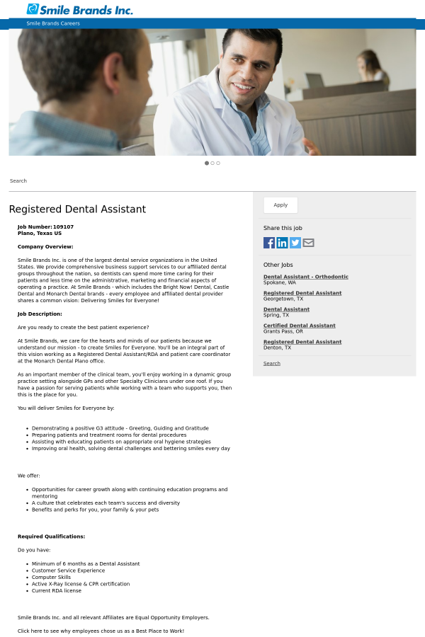 Registered Dental Assistant Job At Smile Brands In Plano Tx