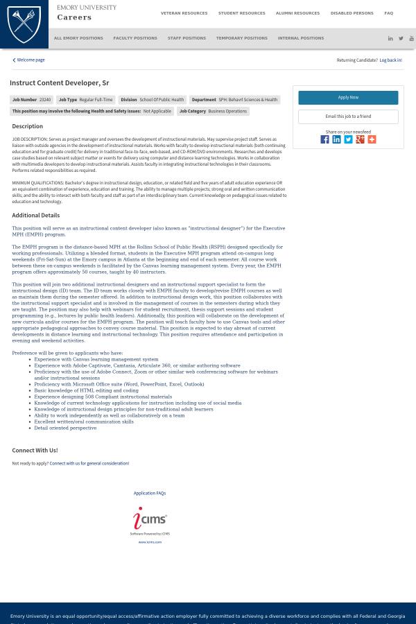 Instruct Content Developer Senior Job At Emory University In
