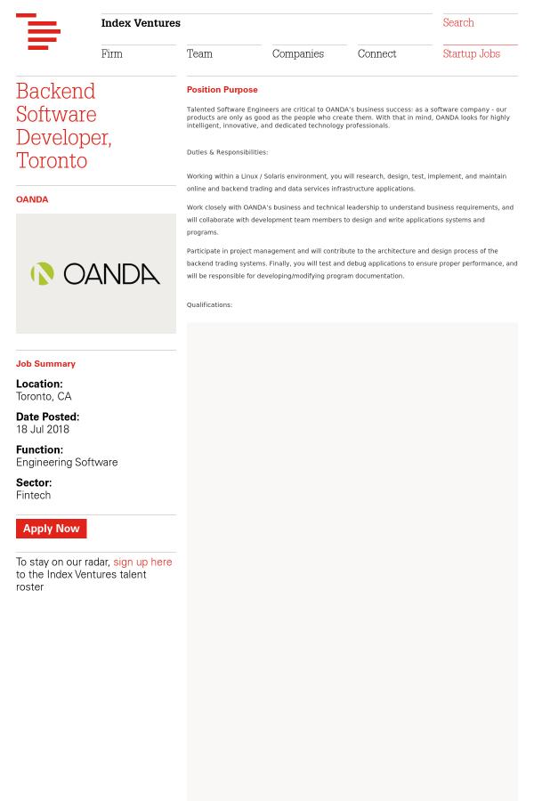Backend Software Developer, Toronto job at OANDA in Toronto, Canada