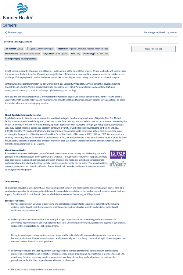 Certified Nursing Assistant Job At Banner Health In Ogallala Ne
