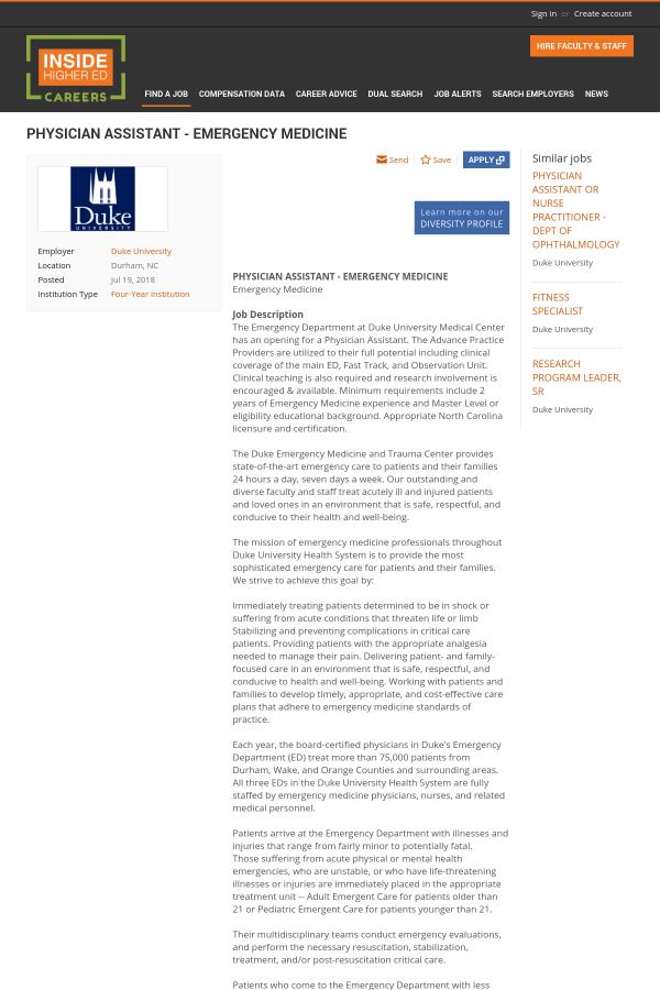 Physician Assistant - Emergency Medicine job at Duke University in
