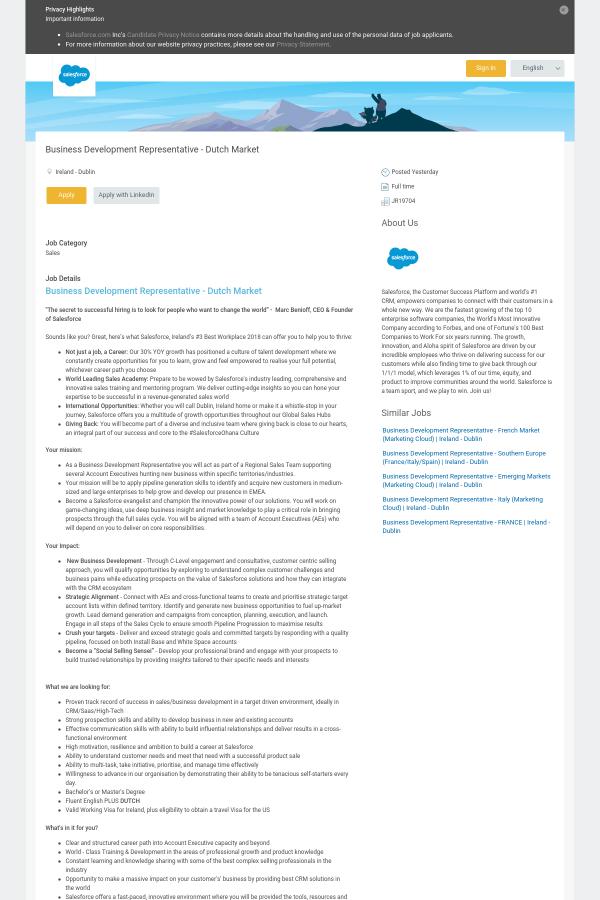Business Development Representative - Dutch Market job at