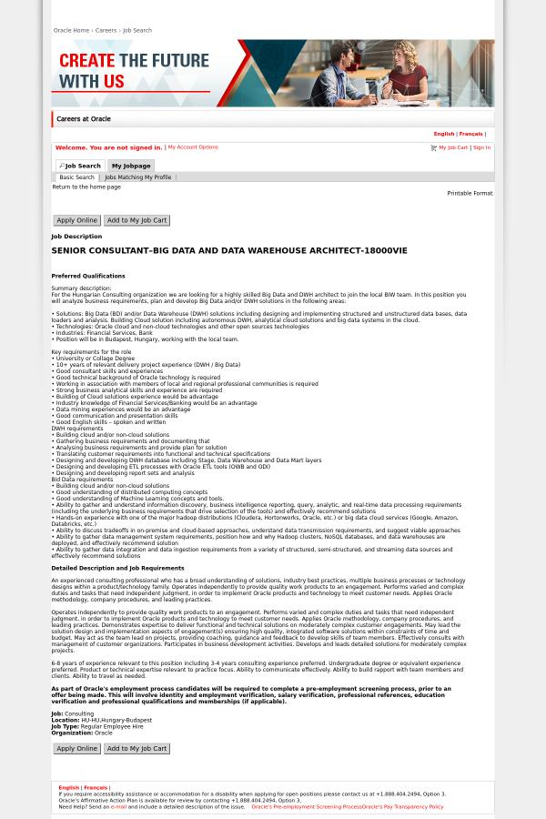 Senior Consultant - Big Data and Data Warehouse Architect job at ...