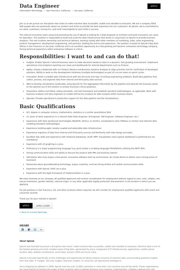 Data Engineer job at Splunk in San Jose, CA - 13564210
