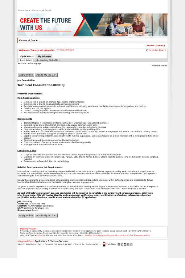 preferred qualifications main responsibilities technical role