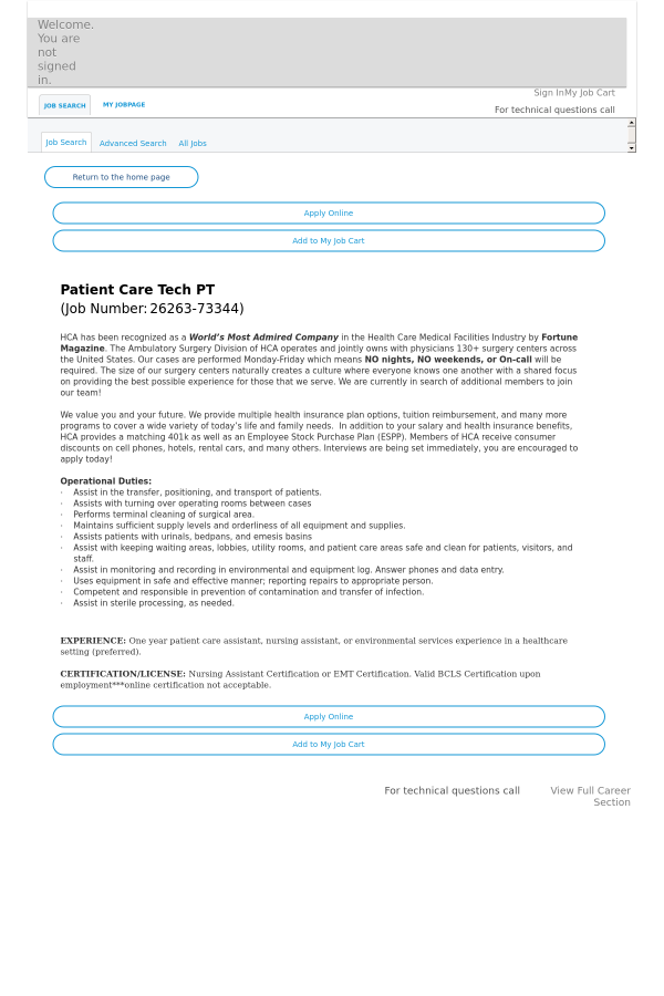 Patient Care Tech Job At Hca Holdings Inc In Lone Tree Co