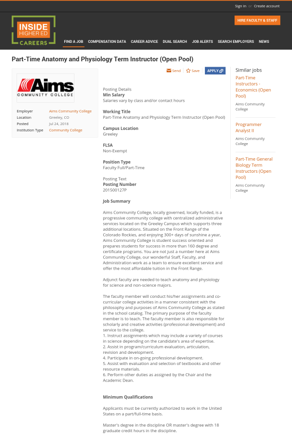 Anatomy and Physiology Term Instructor job at Aims Community College ...