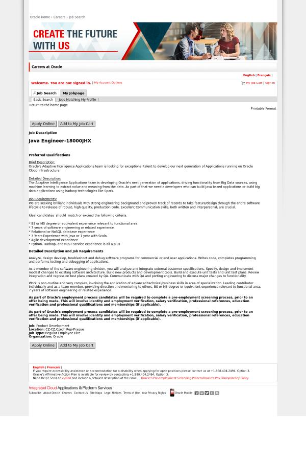 Java Engineer Job At Oracle In Prague Czech Republic 13579730