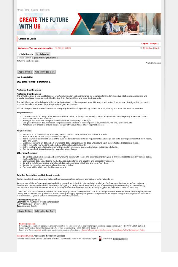 Ux Designer Job At Oracle In Guadalajara Mexico 13580318 Tapwage Job Search