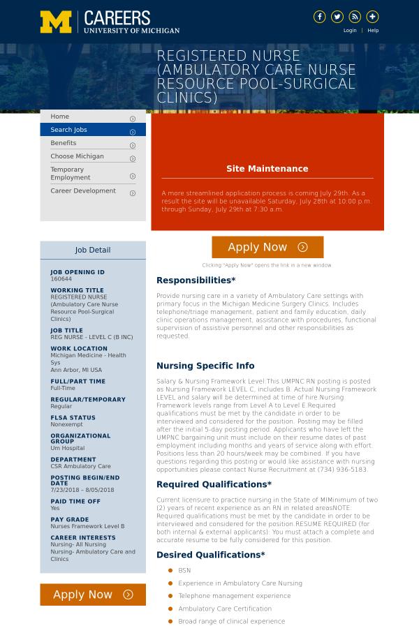 Reg Nurse Level C B Inc Job At University Of Michigan In Ann