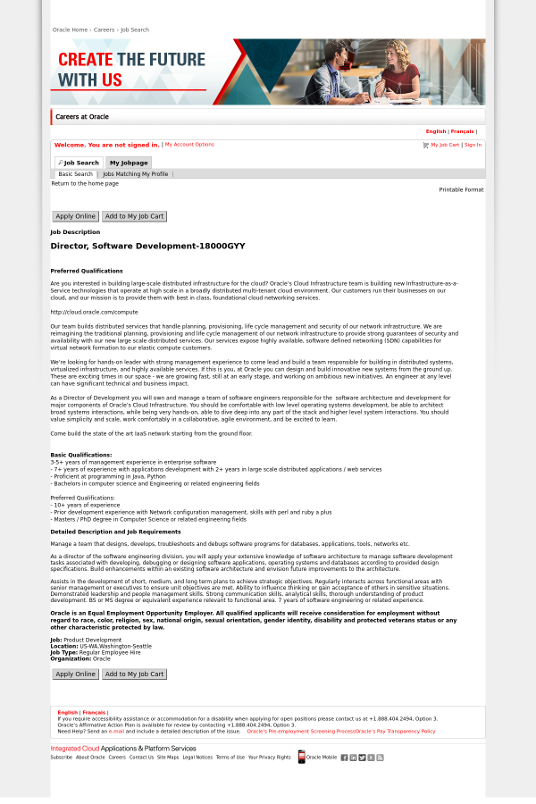 Director Software Development Job At Oracle In Seattle Wa 13581502 Tapwage Job Search