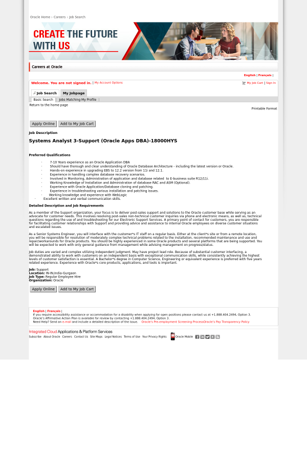 Systems Analyst 3 - Support (Oracle Apps DBA) job at Oracle