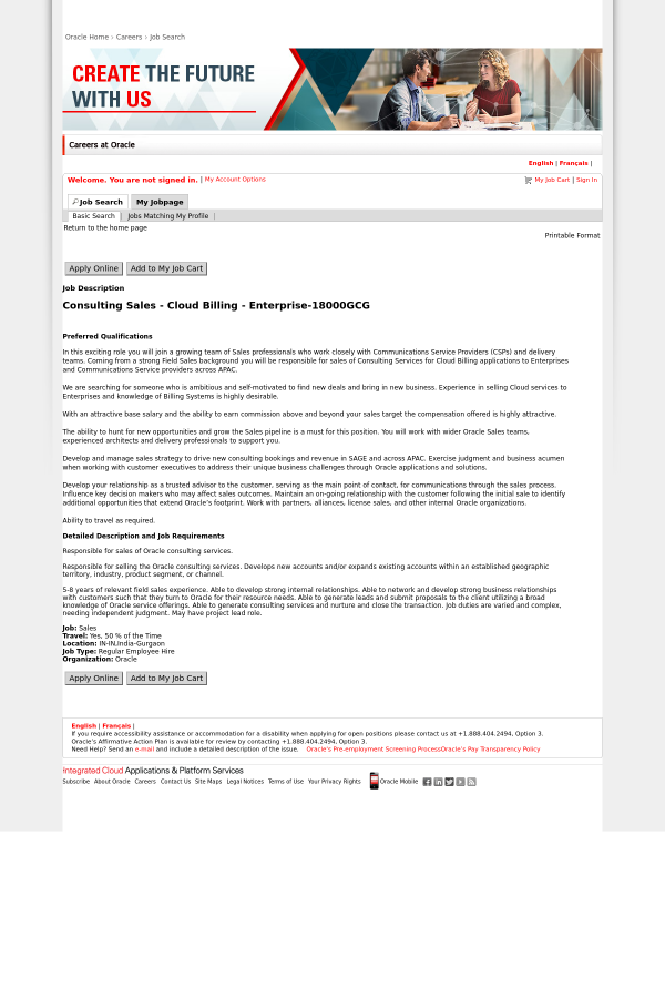 consulting sales cloud billing enterprise job at oracle in
