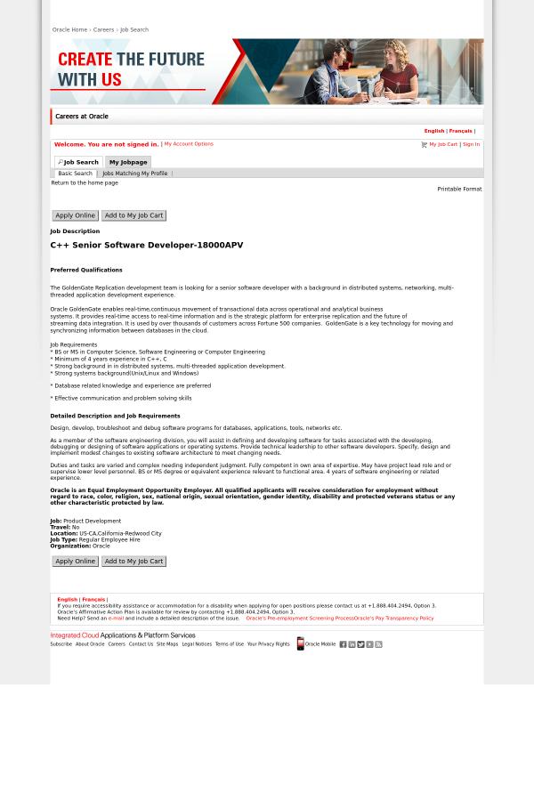 C Senior Software Developer Job At Oracle In Redwood City Ca 13583821 Tapwage Job Search