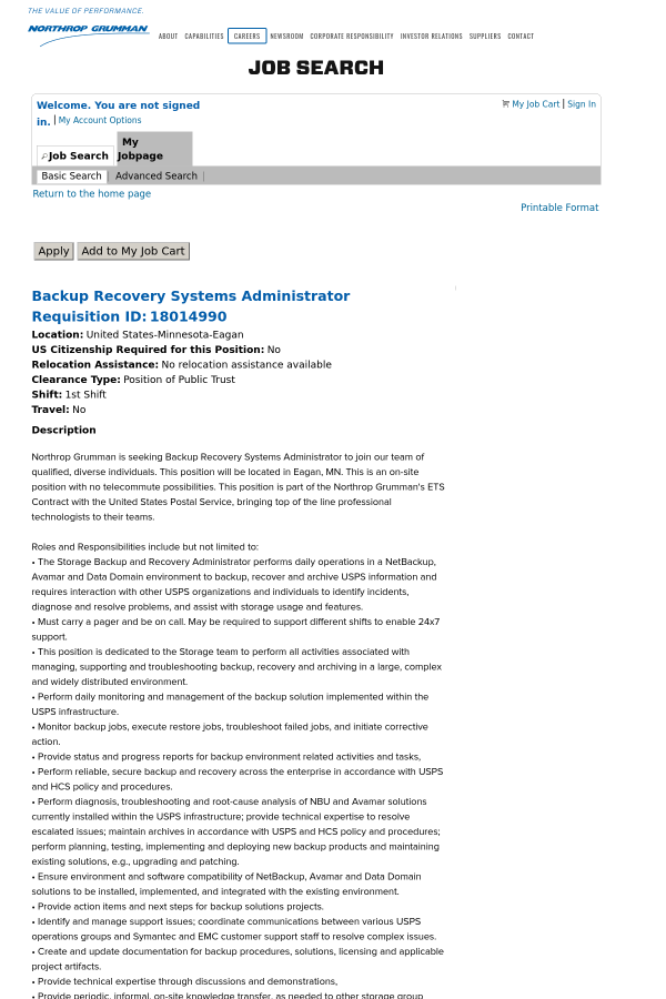 backup recovery systems administrator job at northrop grumman