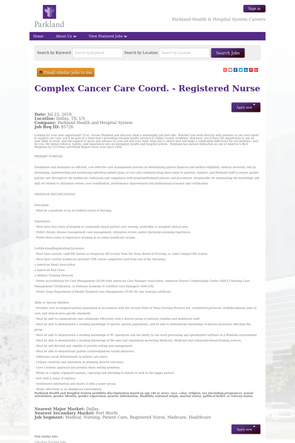 Complex Cancer Care Coordinator Registered Nurse Job At Parkland