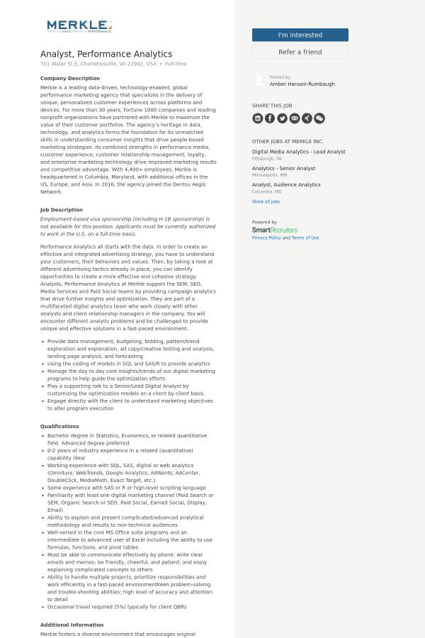 Analyst, Performance Analytics job at Merkle in Charlottesville, VA ...