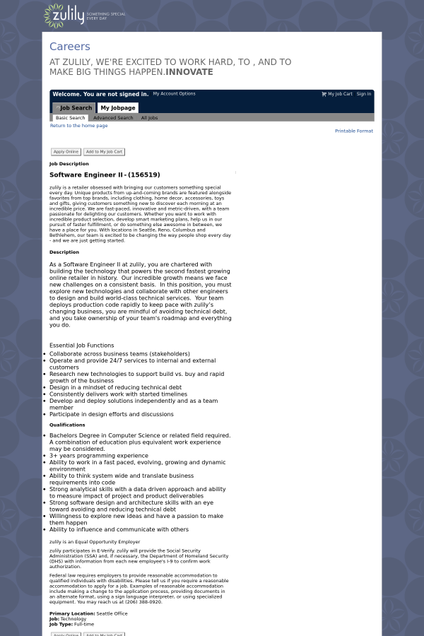 Software Engineer Ii Job At Zulily In Seattle Wa 13602745 Tapwage Job Search
