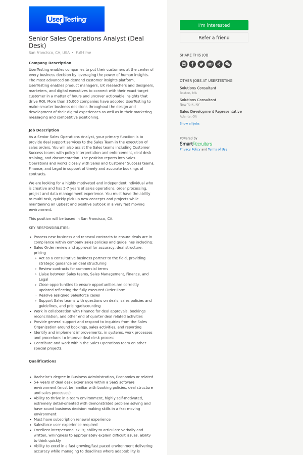 Senior sales operations analyst deal desk job at usertesting in company description publicscrutiny Images