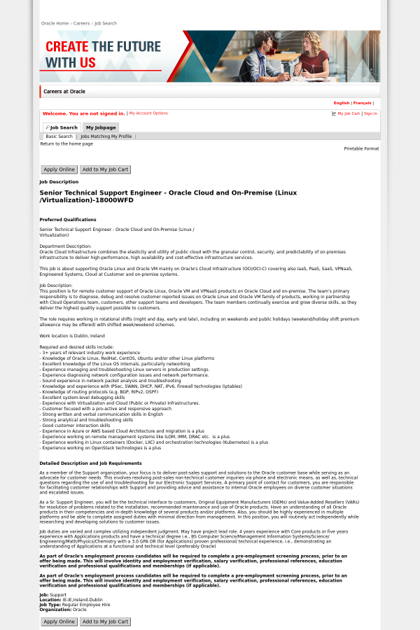 Senior Technical Support Engineer - Oracle Cloud and On-Premise ...