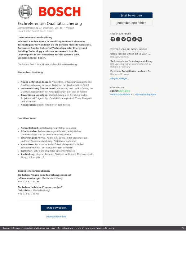 Fachreferent / in Qualitätssicherung job at Bosch Group in Ditzingen ...