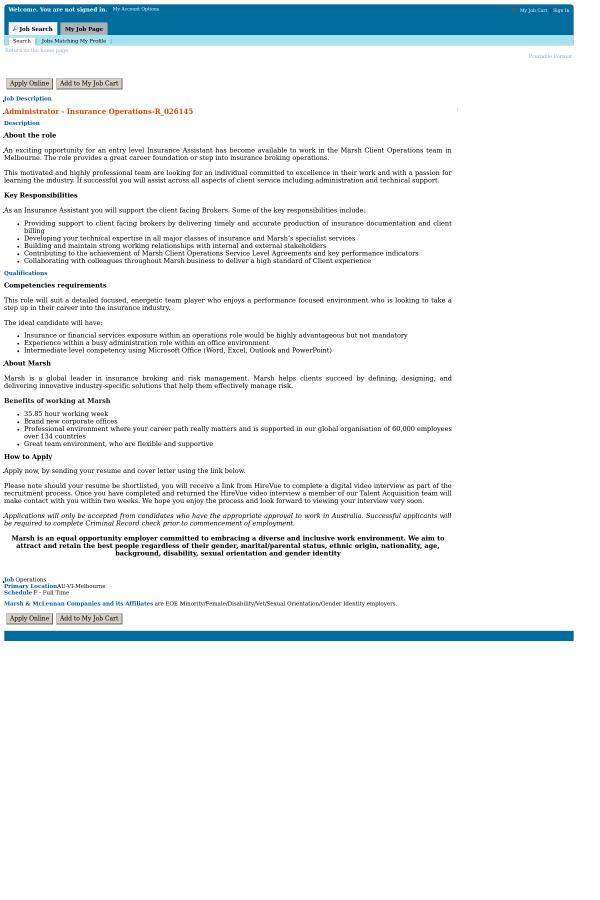 Administrator Insurance Operations Job At Marsh Mclennan