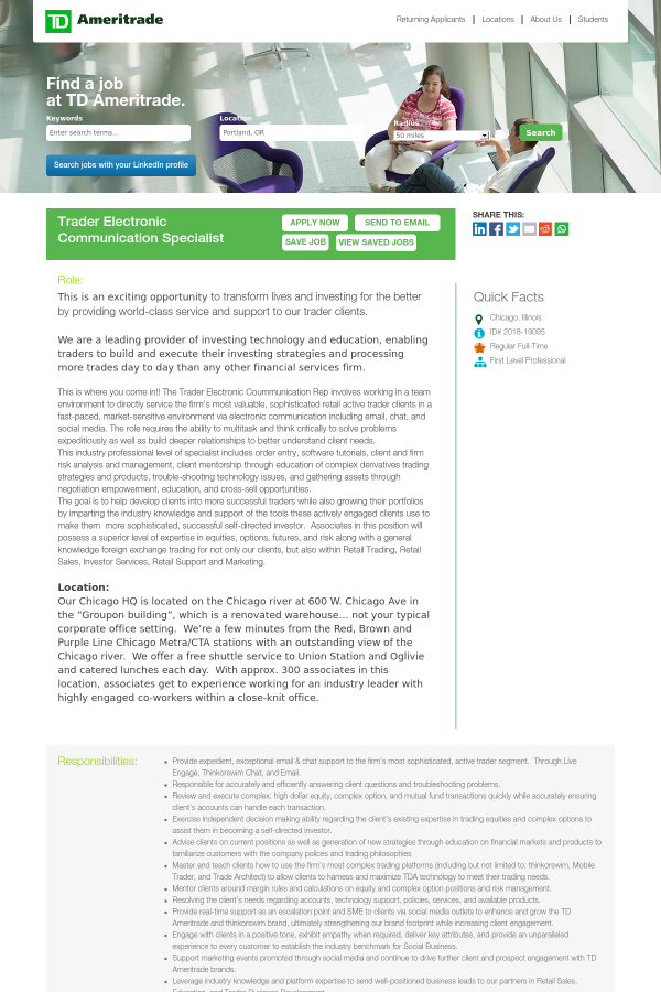 Trader Electronic Communication Specialist job at TD Ameritrade in