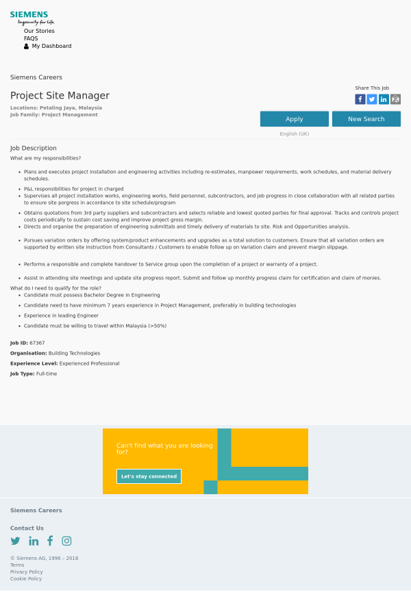 Project Site Manager Job At Siemens In Petaling Jaya Malaysia