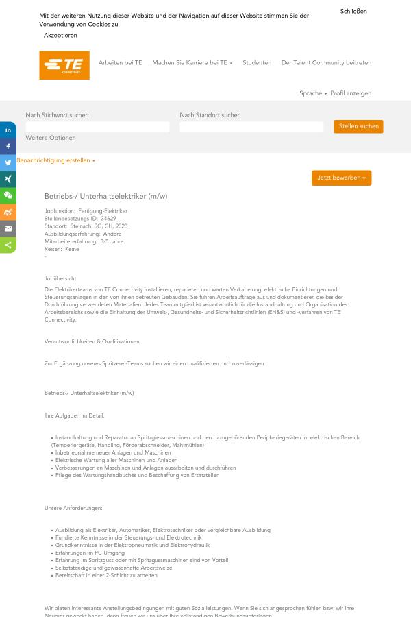 Betriebs - Unterhaltselektriker (m/w) job at TE Connectivity in ...