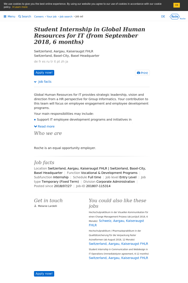 Student Internship in Global Human Resources for IT (From September ...