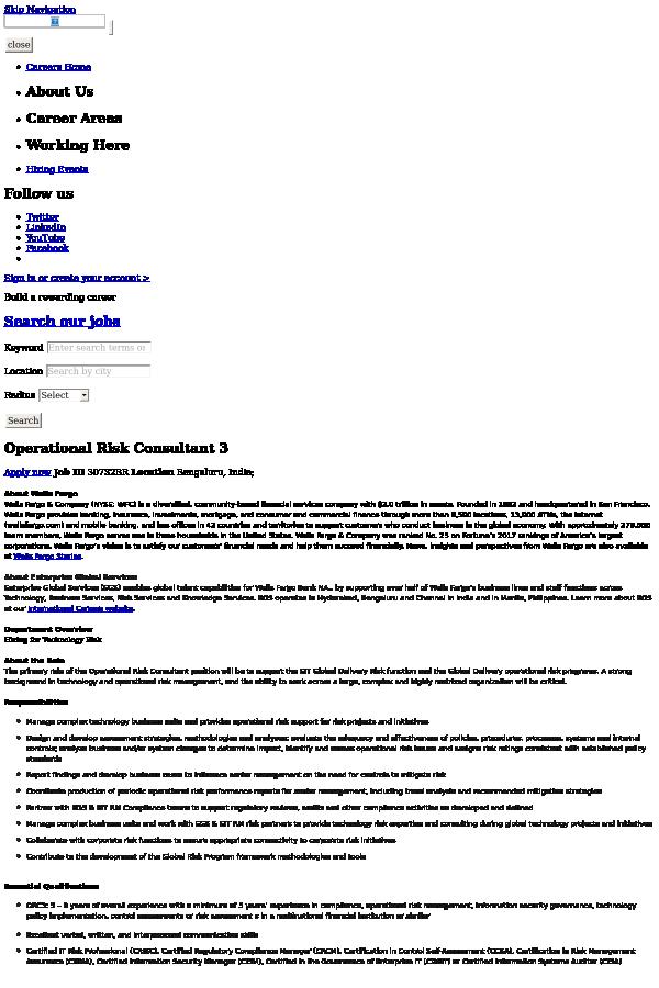 Operational Risk Consultant 3 job at Wells Fargo in Bangalore, India ...