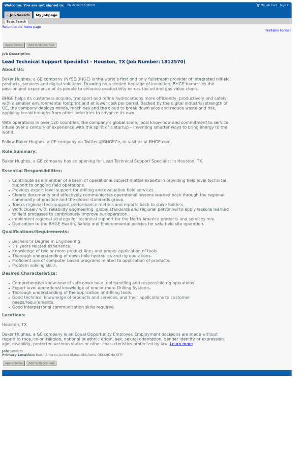 Lead Technical Support Specialist - Houston, TX job at Baker Hughes ...