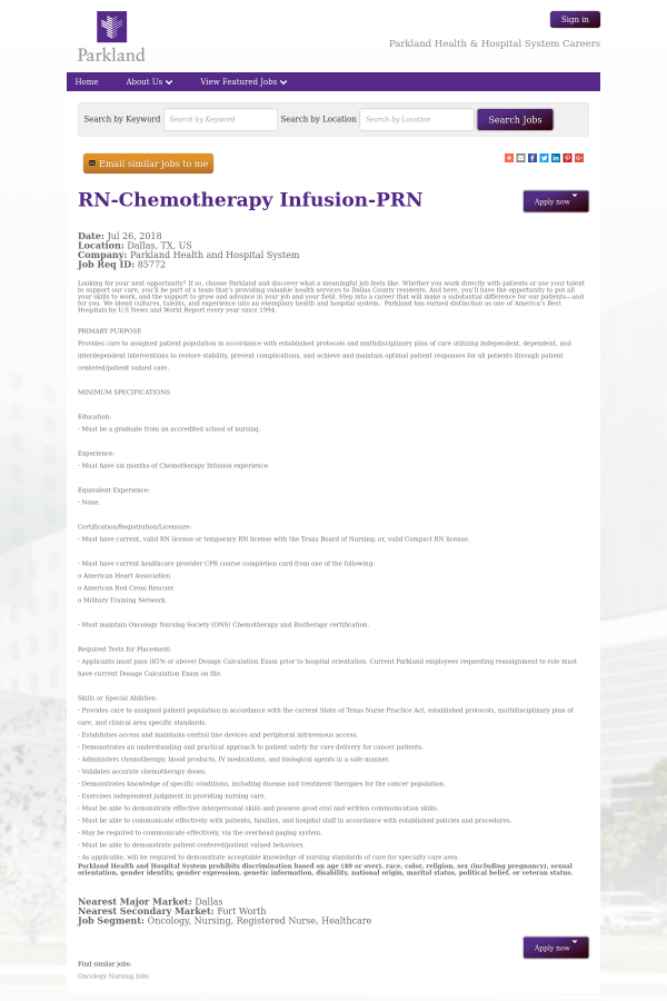Registered Nurse - Chemotherapy Infusion - PRN job at Parkland ...