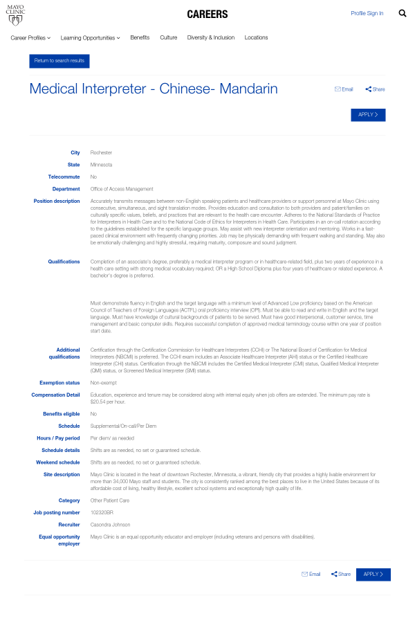 Medical Interpreter - Chinese - Mandarin job at Mayo Clinic in ...