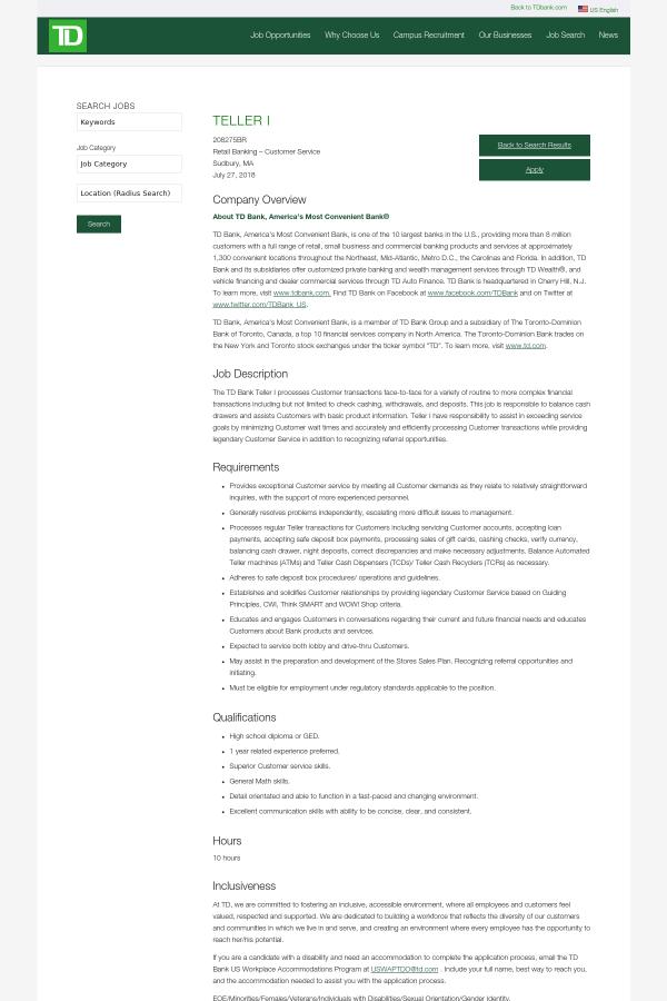 Teller I Job At Td Bank In Sudbury Ma 13666816 Tapwage Job Search