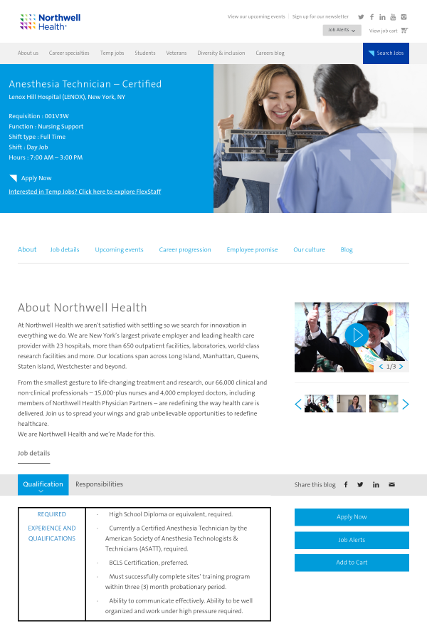 Anesthesia Technician Certified Job At Northwell Health In New