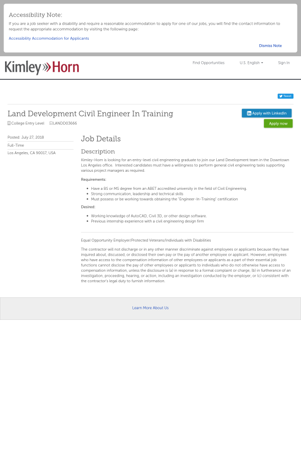 Land Development Civil Engineer In Training Job At Kimley Horn In
