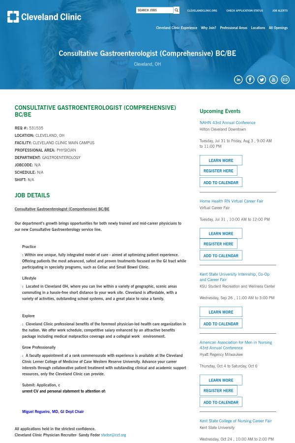 Consultative Gastroenterologist (Comprehensive) BC/BE job at