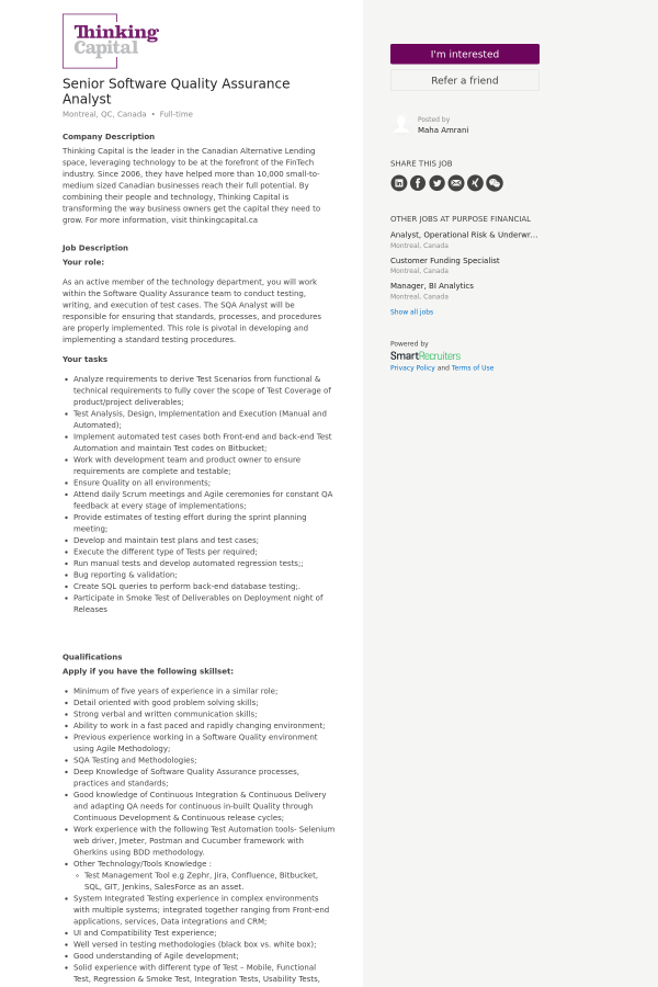 Senior Software Quality Assurance Analyst job at ThinkCapital in ...