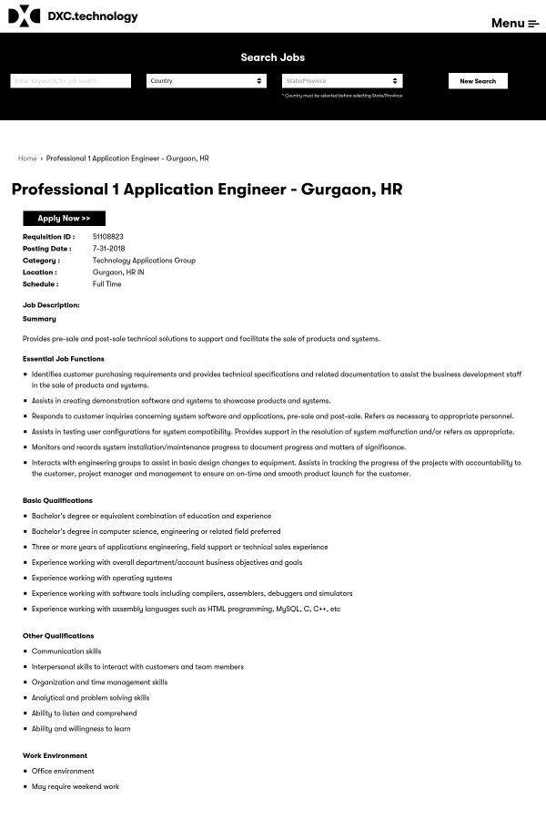 Professional 1 Application Engineer job at DXC Technology in Gurgaon ...