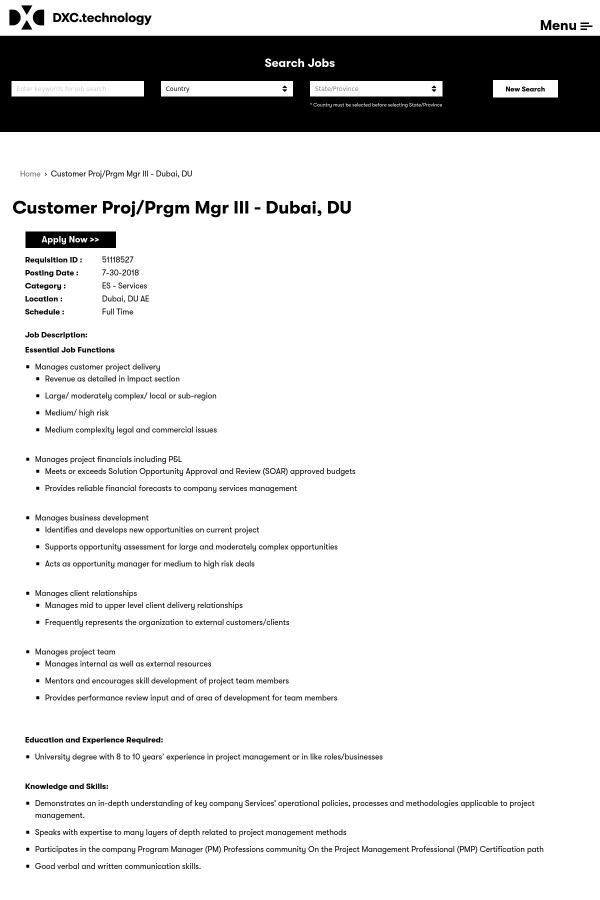 Customer Project Prgm Manager Iii Job At Dxc Technology In Dubai